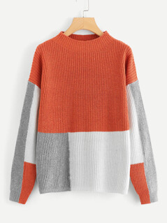 Mock-neck Cut and Sew Jumper