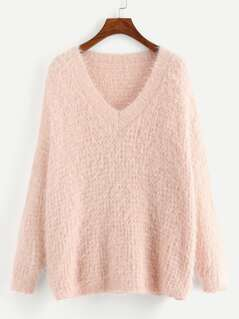 V-Neck Fluffy Sweater