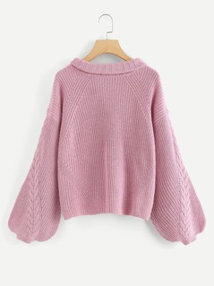 Roll Neck Cable Knit Lantern Sleeve Jumper