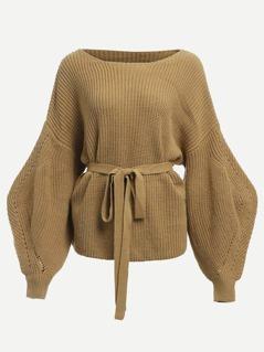 Bishop Sleeve Belted Sweater
