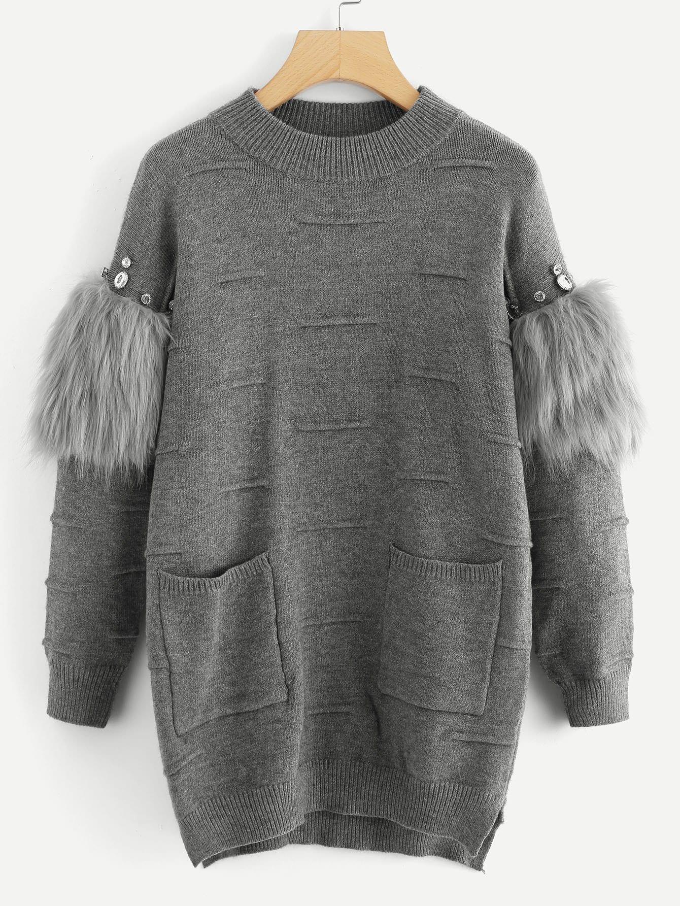 Купить Rhinestone и искусственный мех украшенный текстурированный свитер, null, SheIn