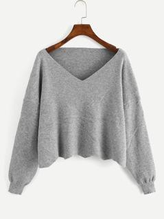 Drop Shoulder Heather Grey Sweater
