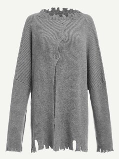Buttoned Front Raw Cut Sweater