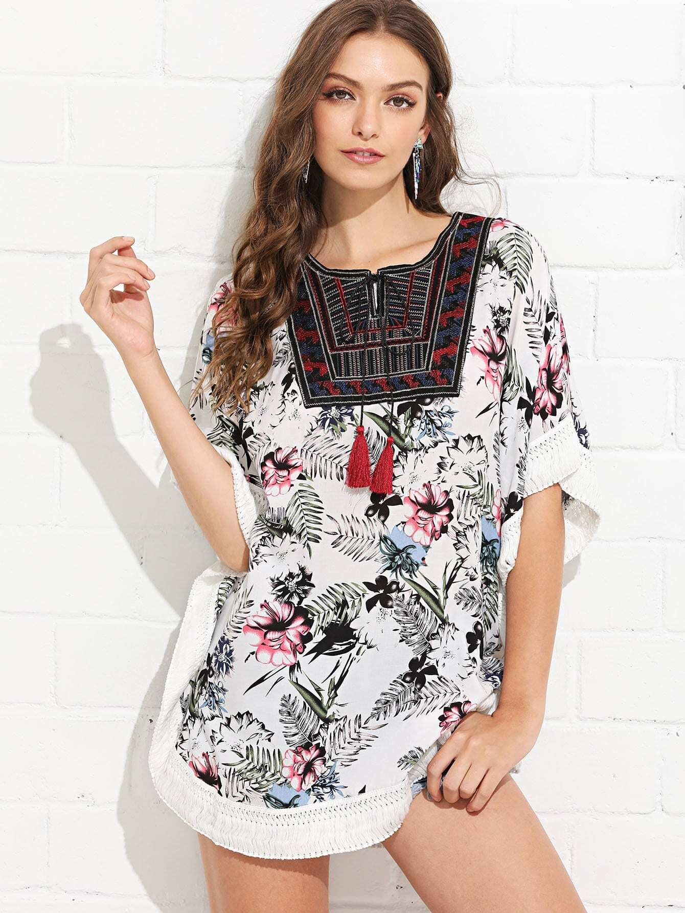 Embroidered Tassel Floral Tribal Top цена 2017