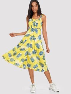 Button Front Tropical Print Split Dress