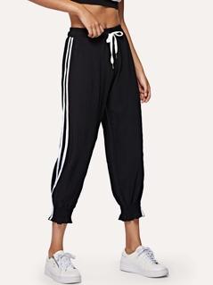 Side Striped Waist Drawstring Sweatpants