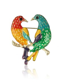 Couple Bird Design Brooch