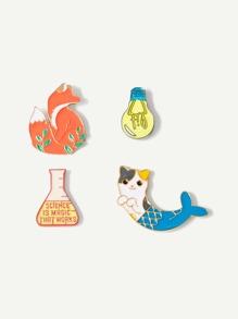Fox & Cat Brooch Set 4pcs