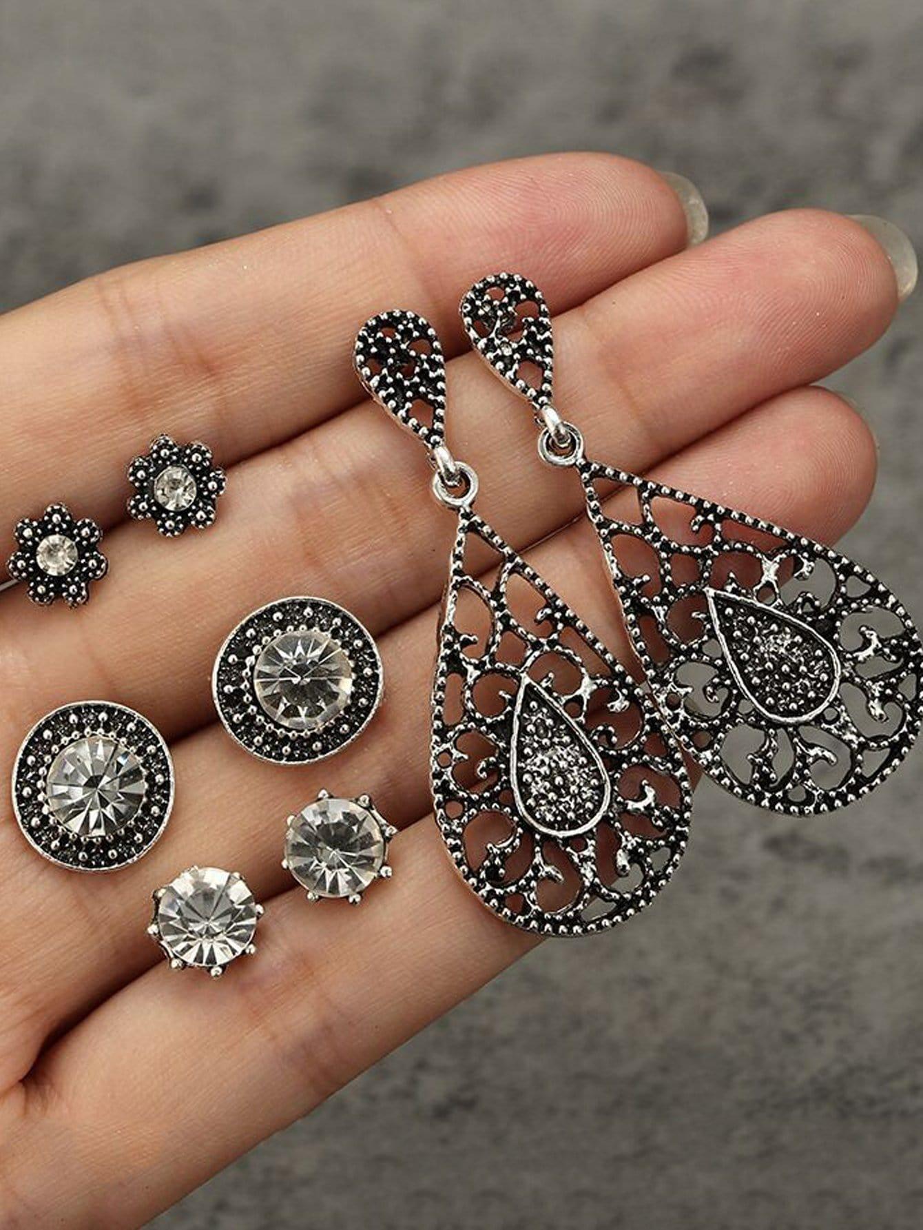 Hollow Rhinestone Earrings 4pairs