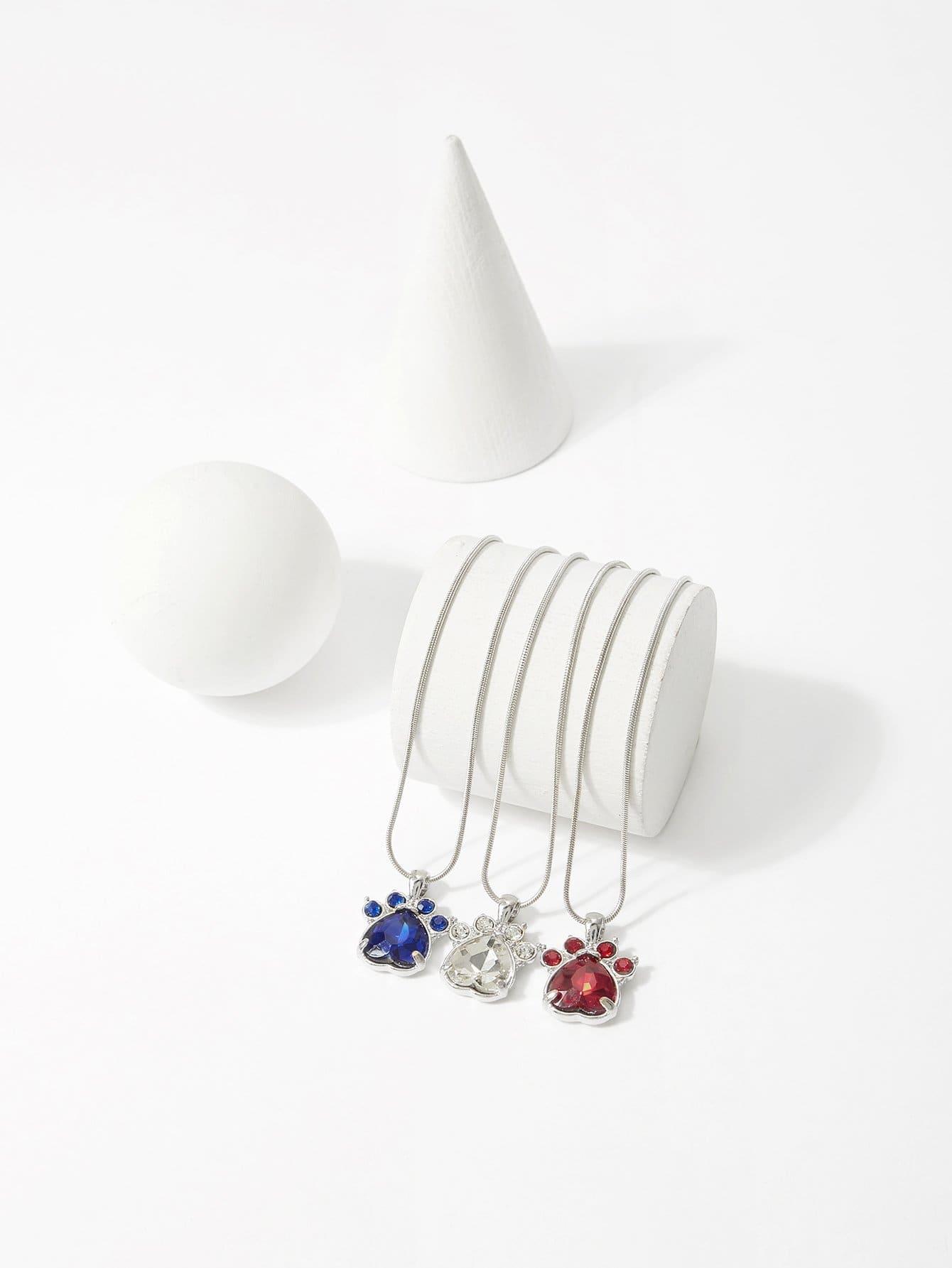 Gemstone Footprint Pendant Necklace Set 3pcs hollow heart pendant necklace set 3pcs
