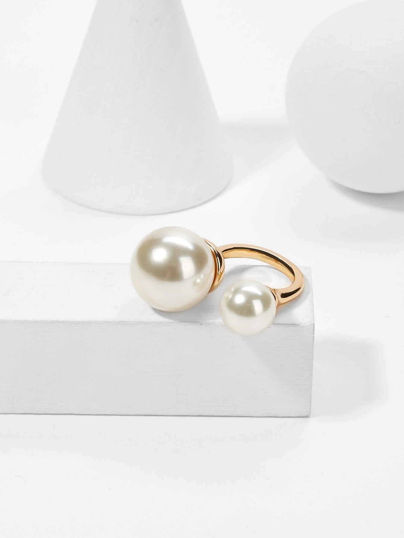 Faux Pearl Design Cuff Ring faux pearl asymmetrical ring