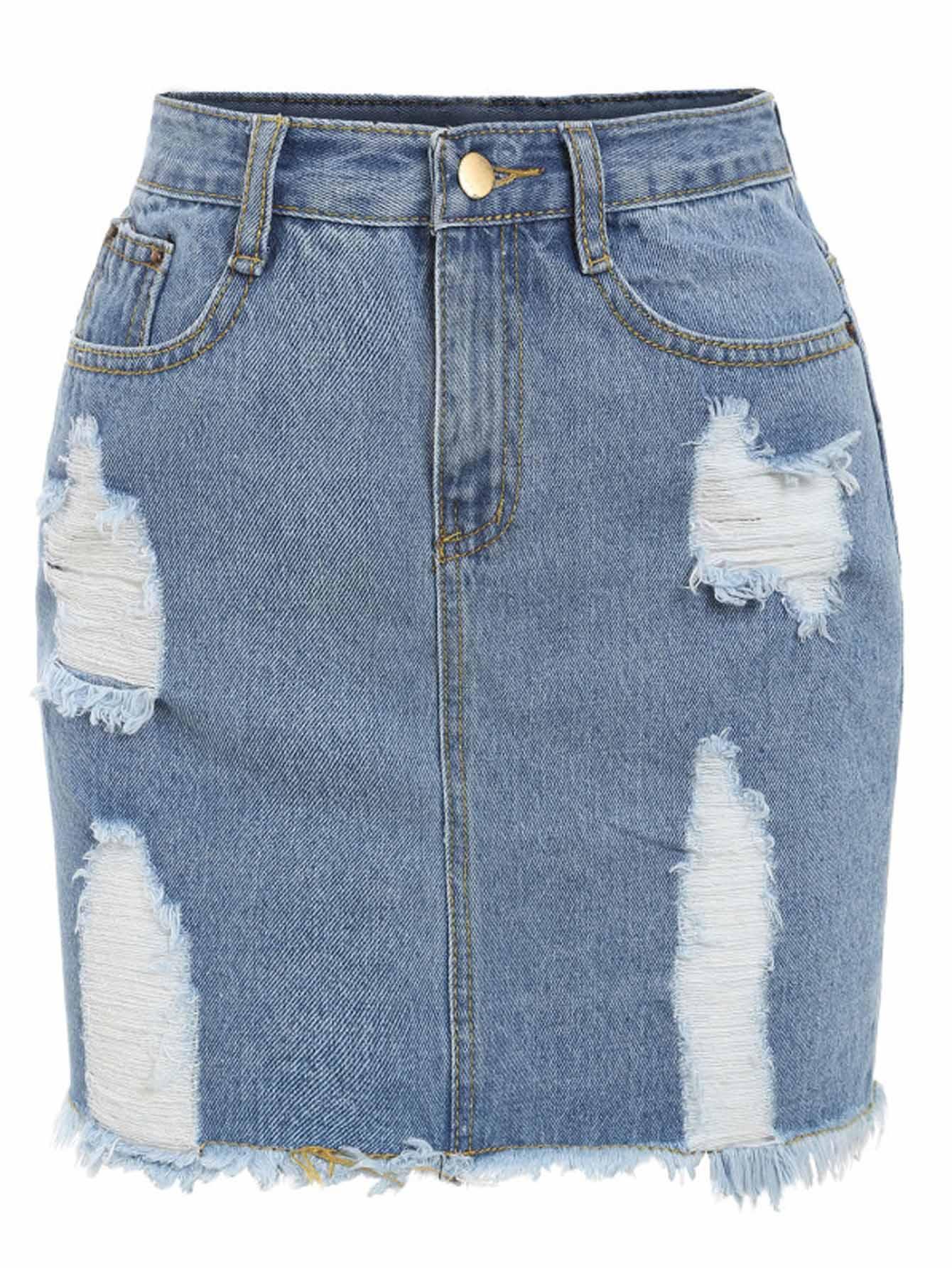 Синяя рваная джинсовая юбка-карандаш