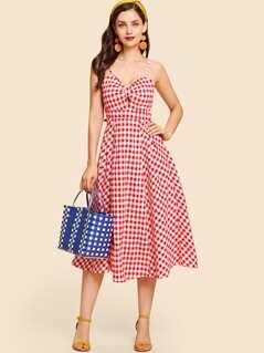 Twist Front Gingham Slip Dress