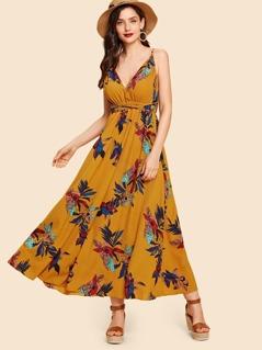 Crisscross Open Back Floral Halter Dress