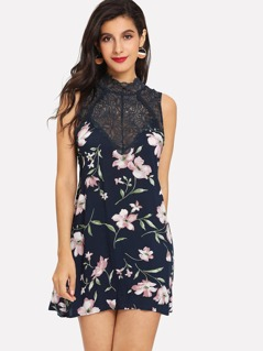 Frill Neck Lace Insert Floral Trapeze Dress
