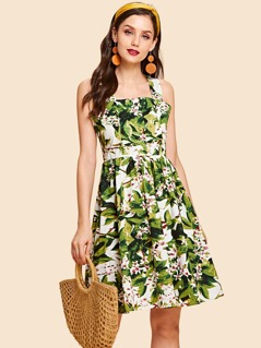 Botanical Print Flare Strap Dress