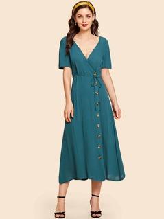 Surplice Neck Button Detail Dress
