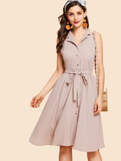 Notch Collar Belted Pinstripe Shirt Dress