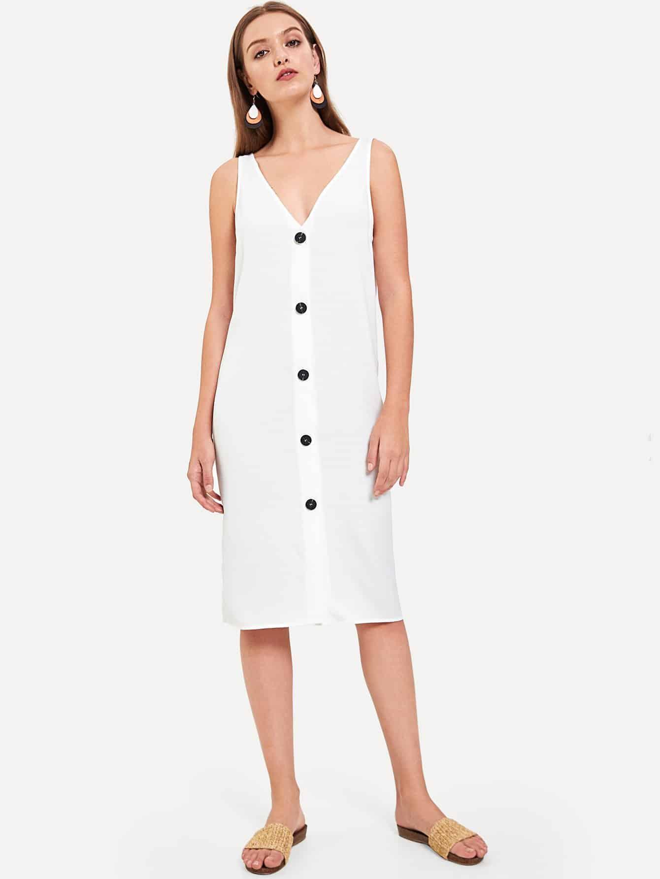 Button Front Sleeveless Dress button front strap dress