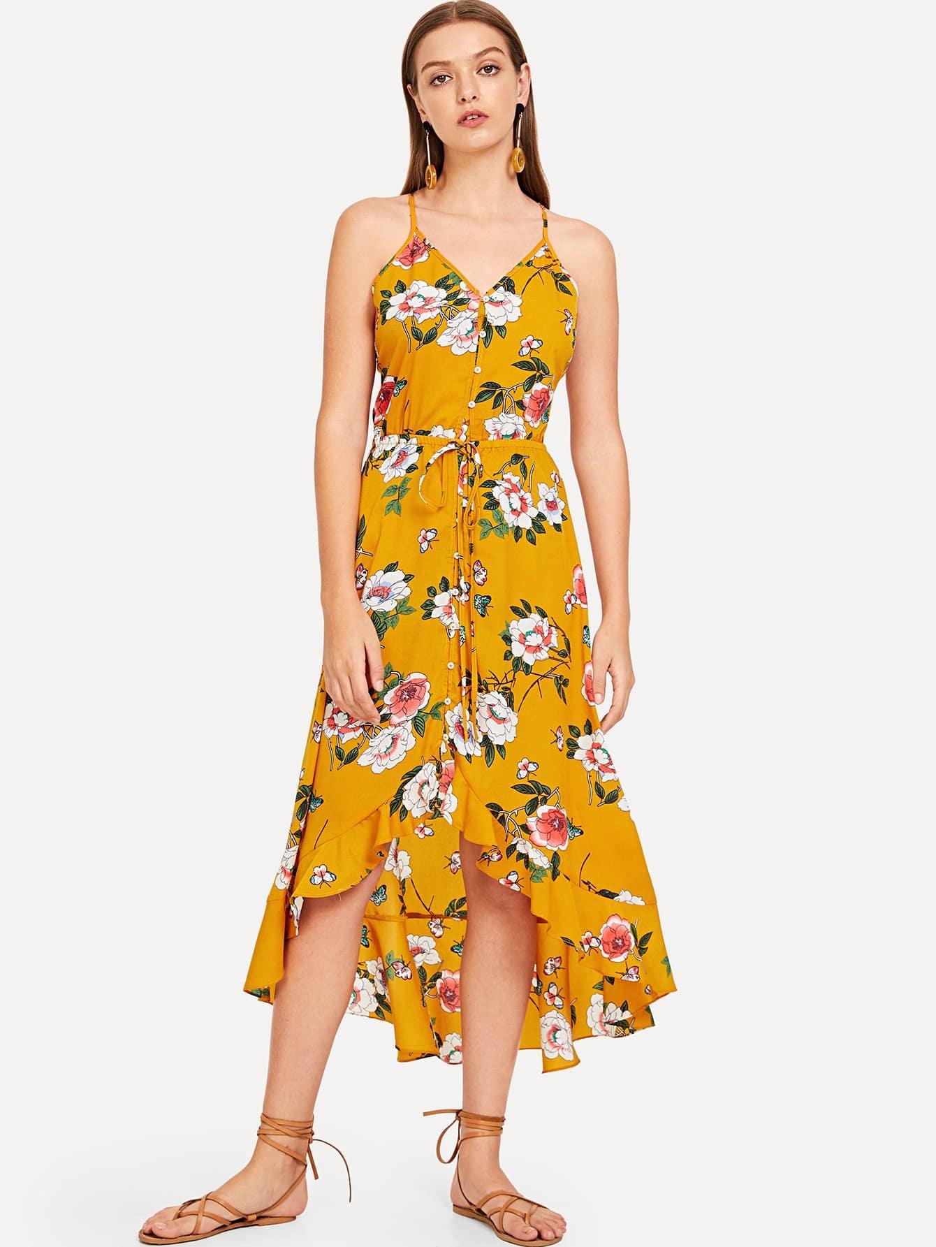 Купить Ruffle Hem Ботанический Ками платье, Luiza, SheIn