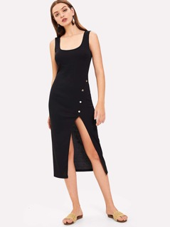 Form Fitting Button Detail Shell Dress