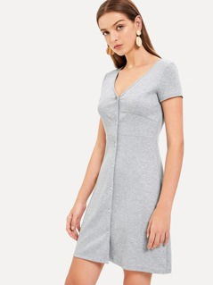 V Neck Button Up Marled Dress