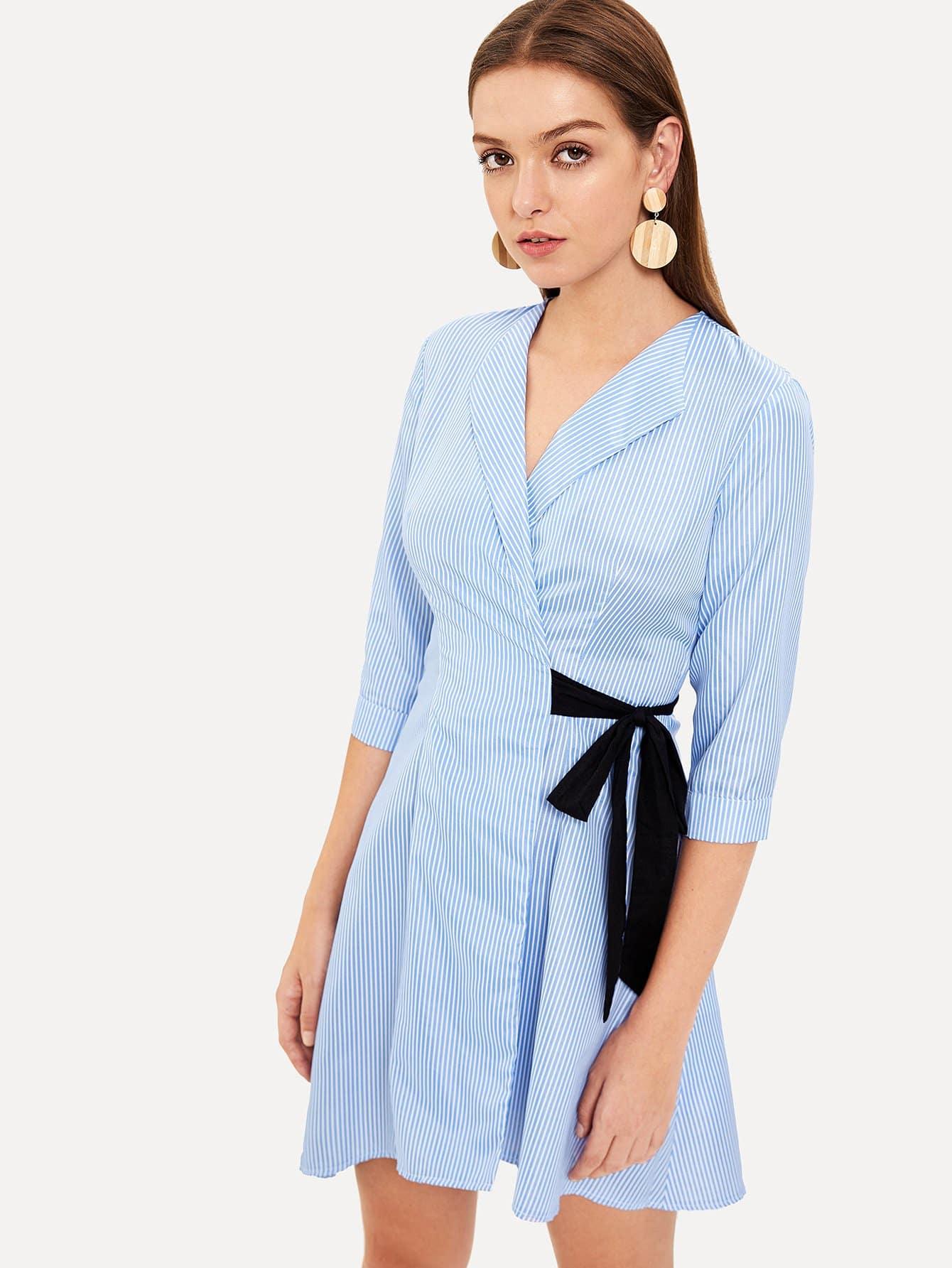 Wrap Waist Knot Pleated Striped Dress one shoulder waist knot split striped dress