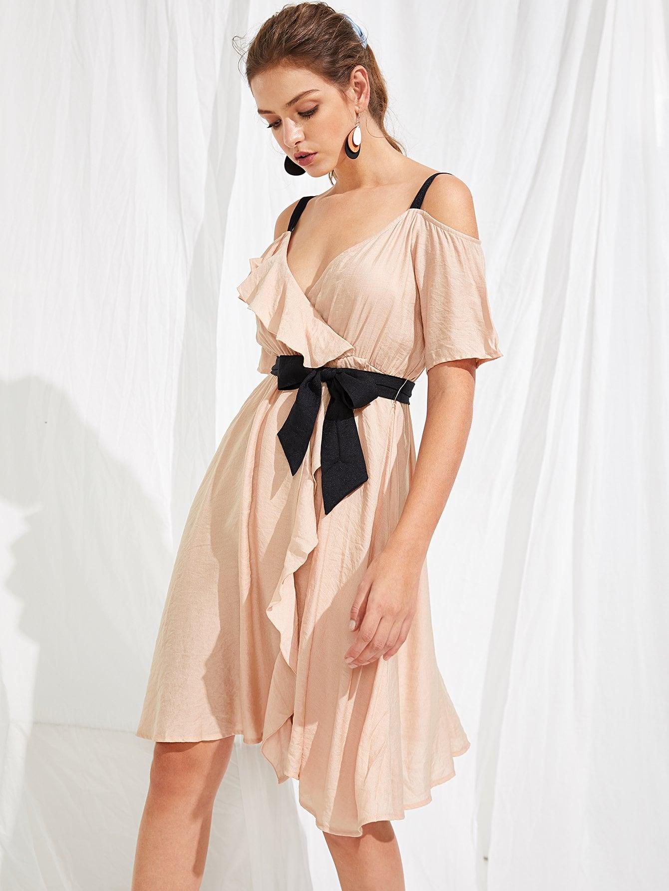 Купить Открытое платье для оборки на плечах, Luiza, SheIn