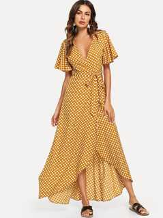 Flutter Sleeve Polka Dot Wrap Dress