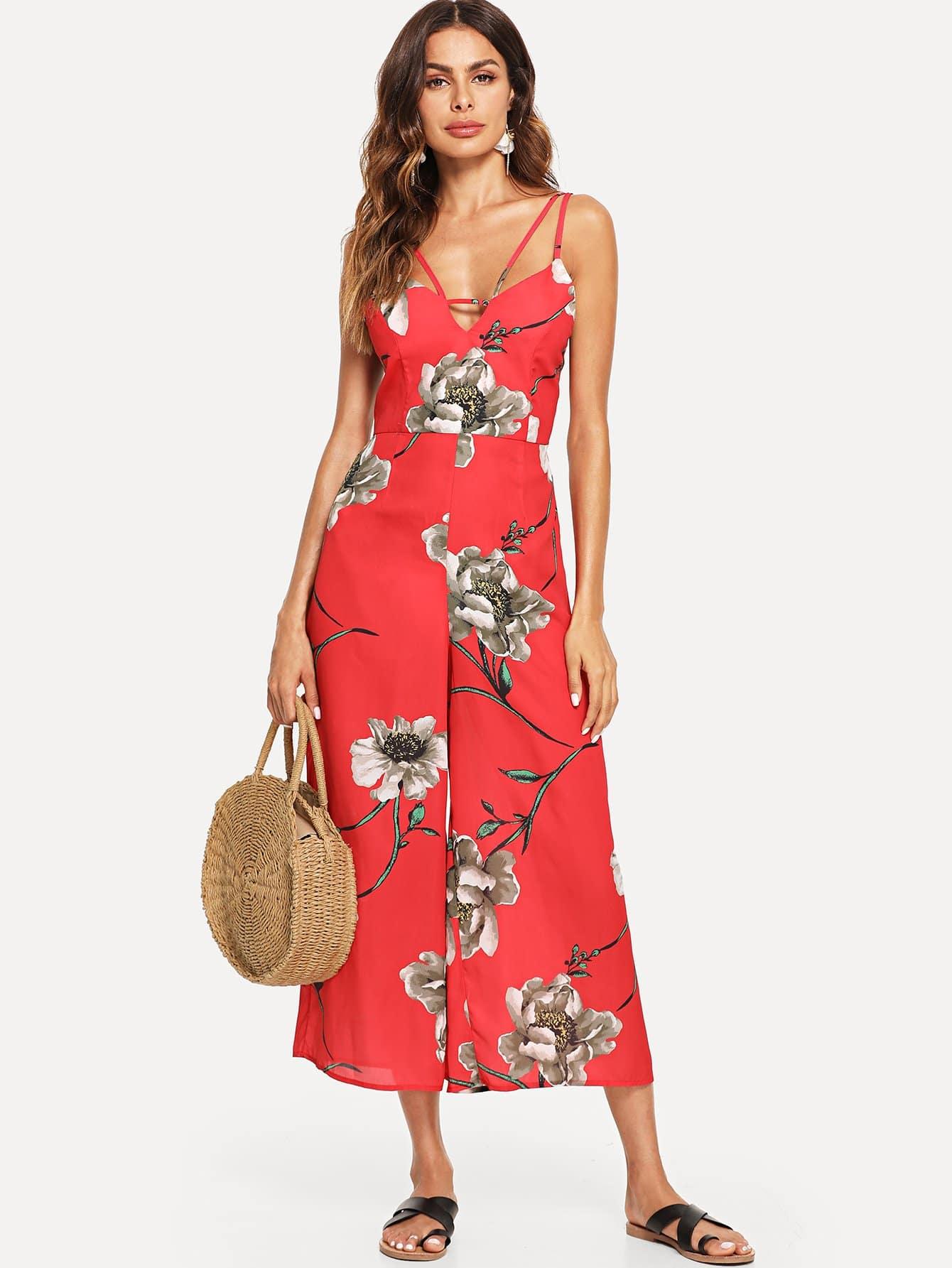 Flower Print Wide Leg Cami Jumpsuit plus flower print wide leg cami jumpsuit
