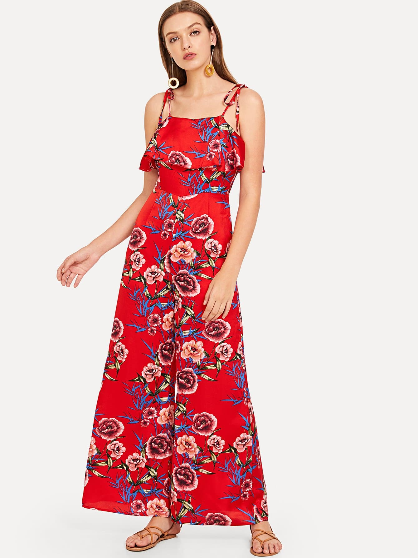 все цены на Ruffle Embellished Bow Tied Cami Floral Jumpsuit
