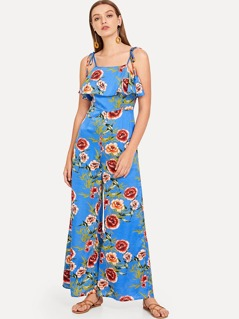 Ruffle Embellished Bow Tied Cami Floral Jumpsuit