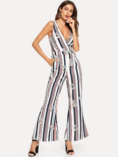 Stripe & Flower Print Wrap Jumpsuit