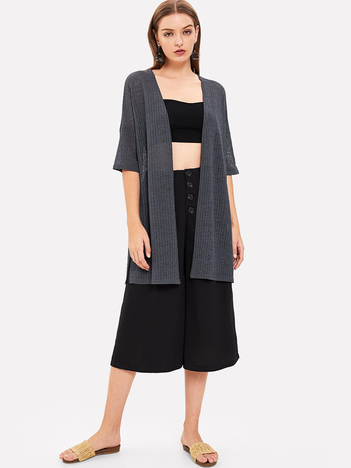 Rib Knit Longline Kimono rib knit tights