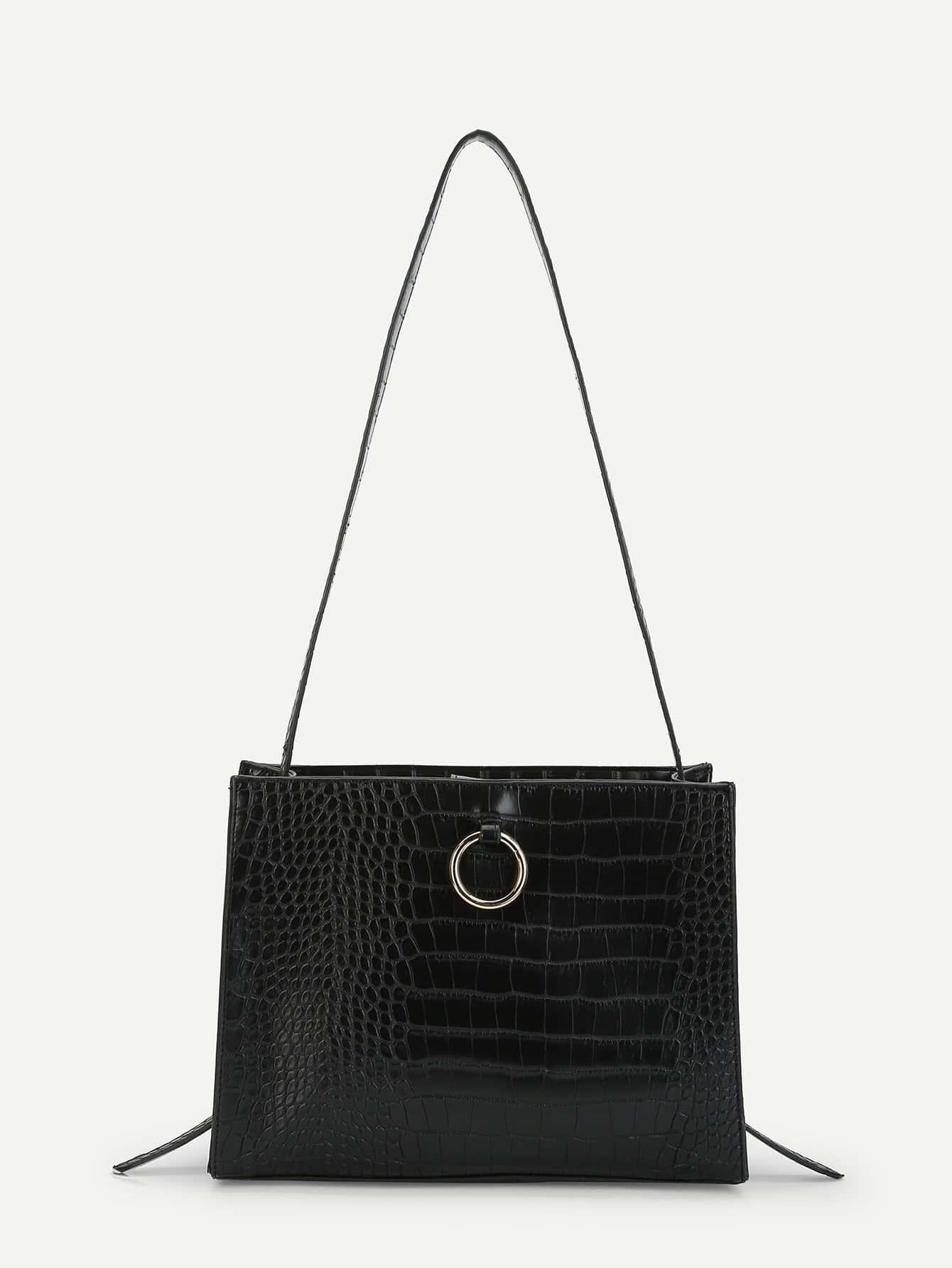Ring Detail Crocodile Pattern PU Shoulder Bag luxurious crocodile pattern shoulder bag 100