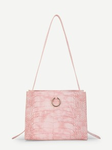Ring Detail Crocodile Pattern PU Shoulder Bag
