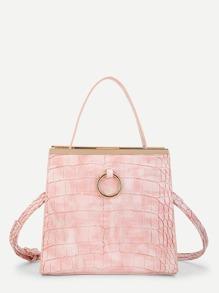 Ring Detail Crocodile Crossbody Bag With Handle