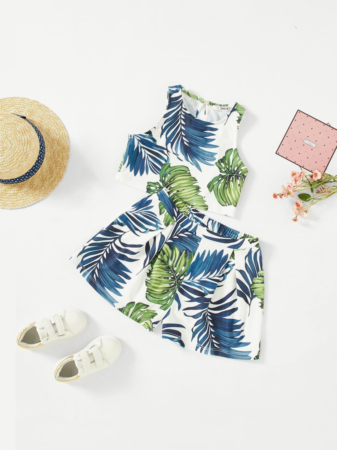 Купить Комплект блузка на бретелях и шорты с рисунками тропических листьев для девочки, null, SheIn