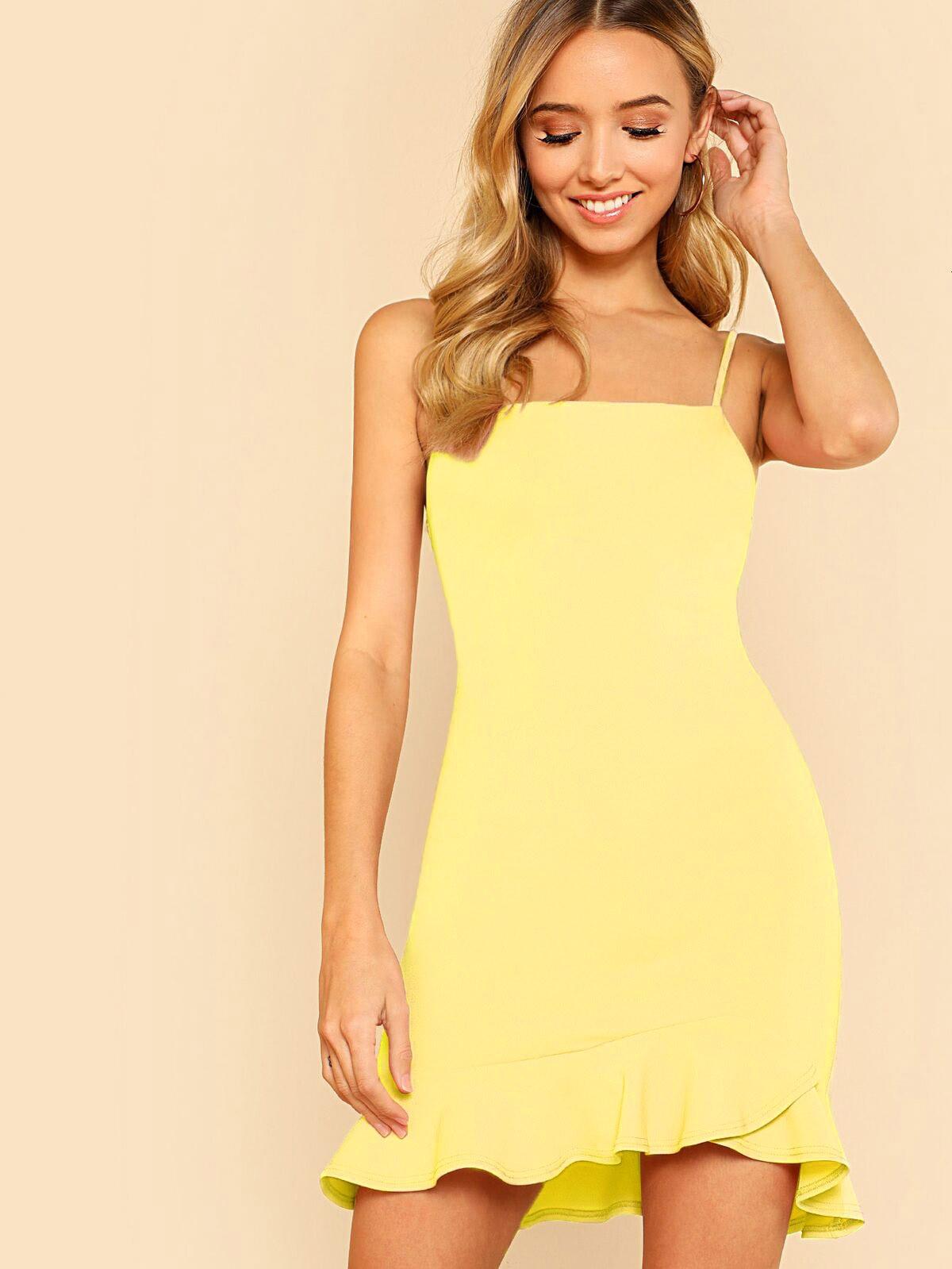Ruffle Hem Solid Cami Dress solid split hem cami dress