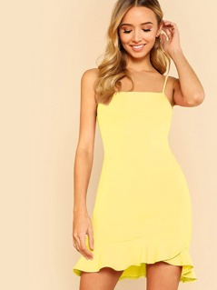 Ruffle Hem Solid Cami Dress