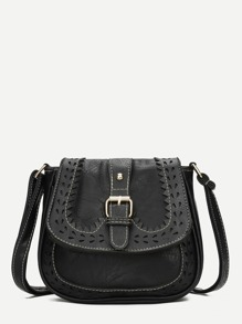 Laser Cut Detail Buckle Strap Saddle Bag