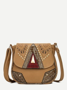 Studded Detail Saddle Bag