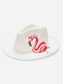 Flamingo Print Fedora Hat