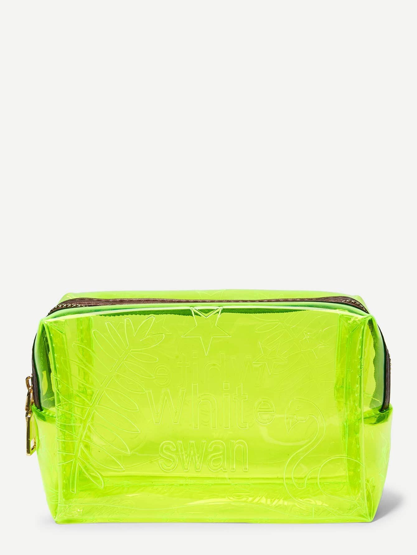 Leaf Pattern Clear Zipper Makeup Bag fashion women travel kit jewelry organizer makeup cosmetic bag