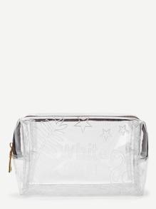 Leaf Pattern Clear Zipper Makeup Bag