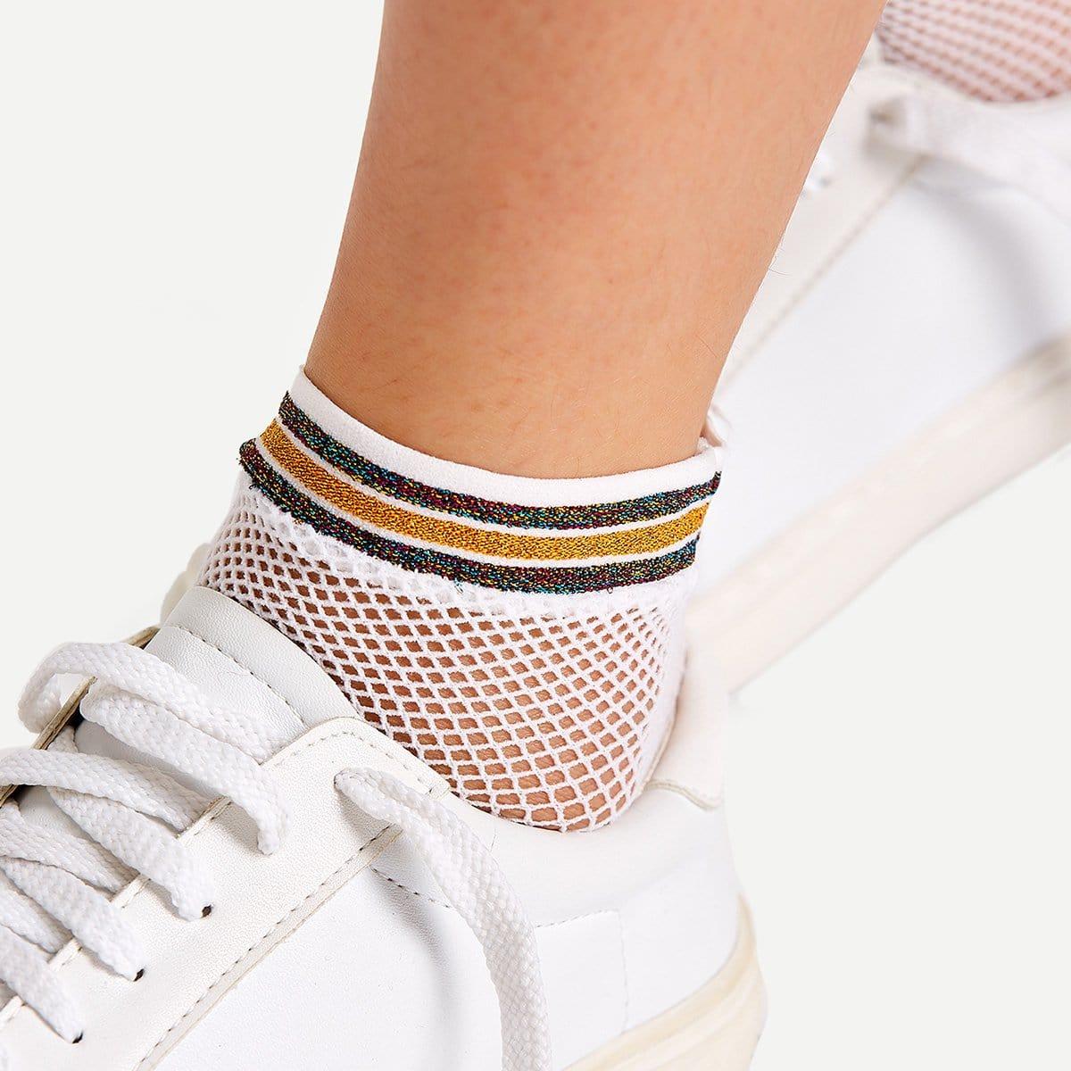 Visnet sokken met glitterstrepen