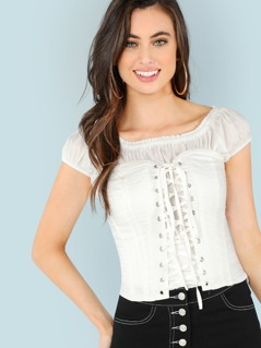 Solid Frill Neck Top With Corset