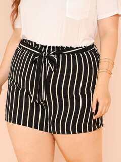 Plus Stripe Shorts with Belt