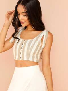 Stripe Button Up Crop Top