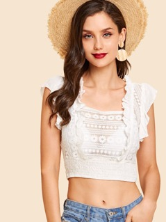 Ruffle Trim Embroidered Shirred Top